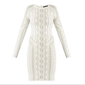 BCBGmaxazria Jamie Cable Knit Jacquard Dress